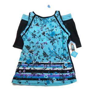 NEW 2 PC Swim Suit Set Shorts NWT L 12 14 Floral